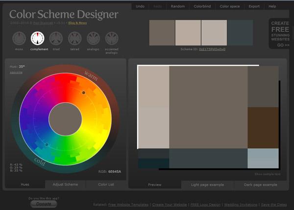 Farbschemata für Webdesigner – Hexacode eingeben und berechnen